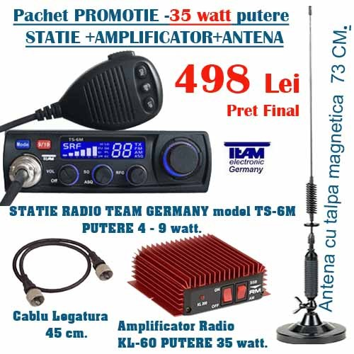 Statie radio auto CB marca Team Germania plus antena cu talpa magnetica Hunter Mag